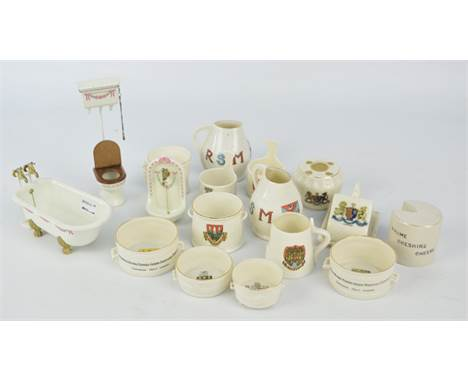 A collection of crested ware including a WH Goss 'Model of Ancient Irish Wooden Noggin', no.489580, 'Model of Elizabethan Qua