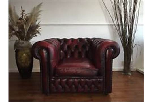 Chesterfield Single Arm Chair In Antique Red Leather The