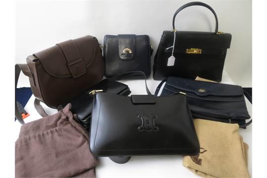 Three Vintage Celine Paris Leather Handbags With Dust Bags A Navy Enzo Stilo Shoulder Bag Bro