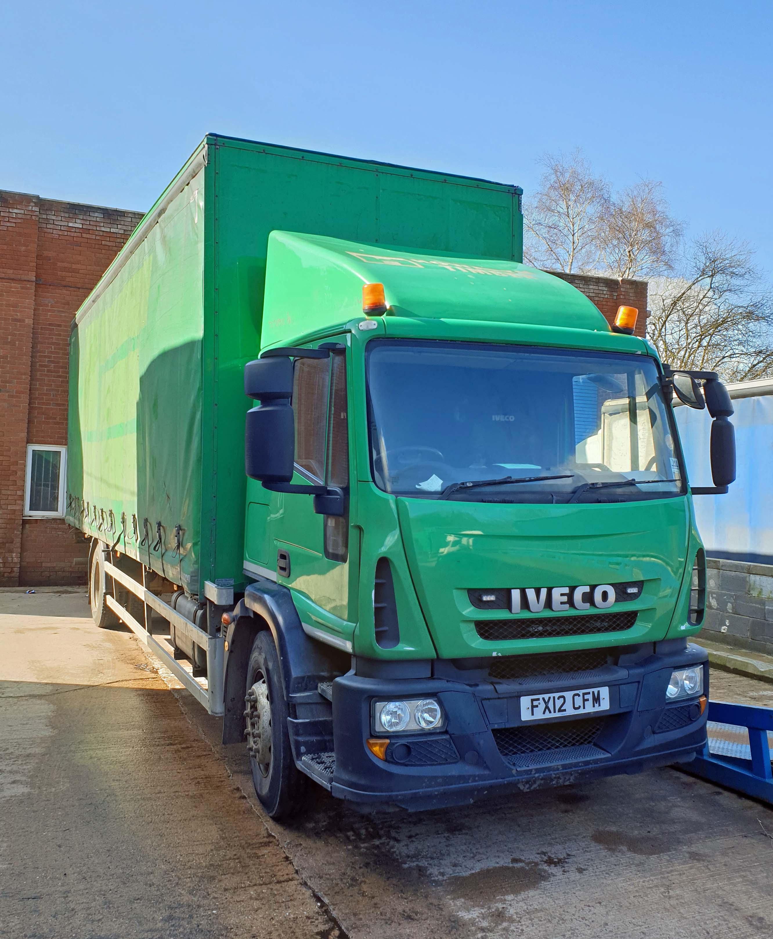 An IVECO Eurocargo ML180E25 5880cc Euro5 18-Tonne 4x2 Curtainside Truck, Registration No. FX12