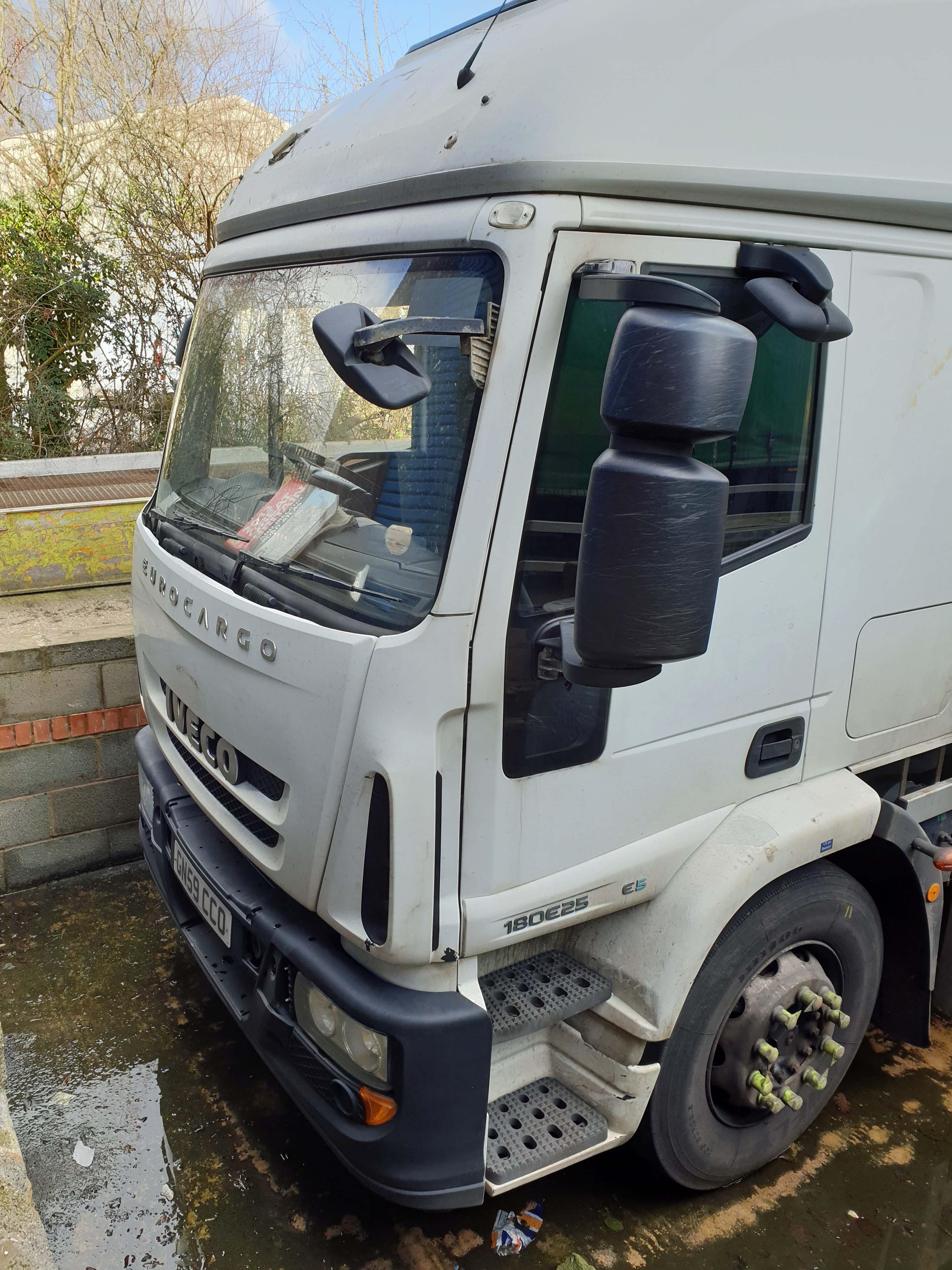An IVECO Cargo ML 180E25 5880cc Euro5 4x2 18-Tonne Curtainside Truck, Registration No. GN59 CCO,