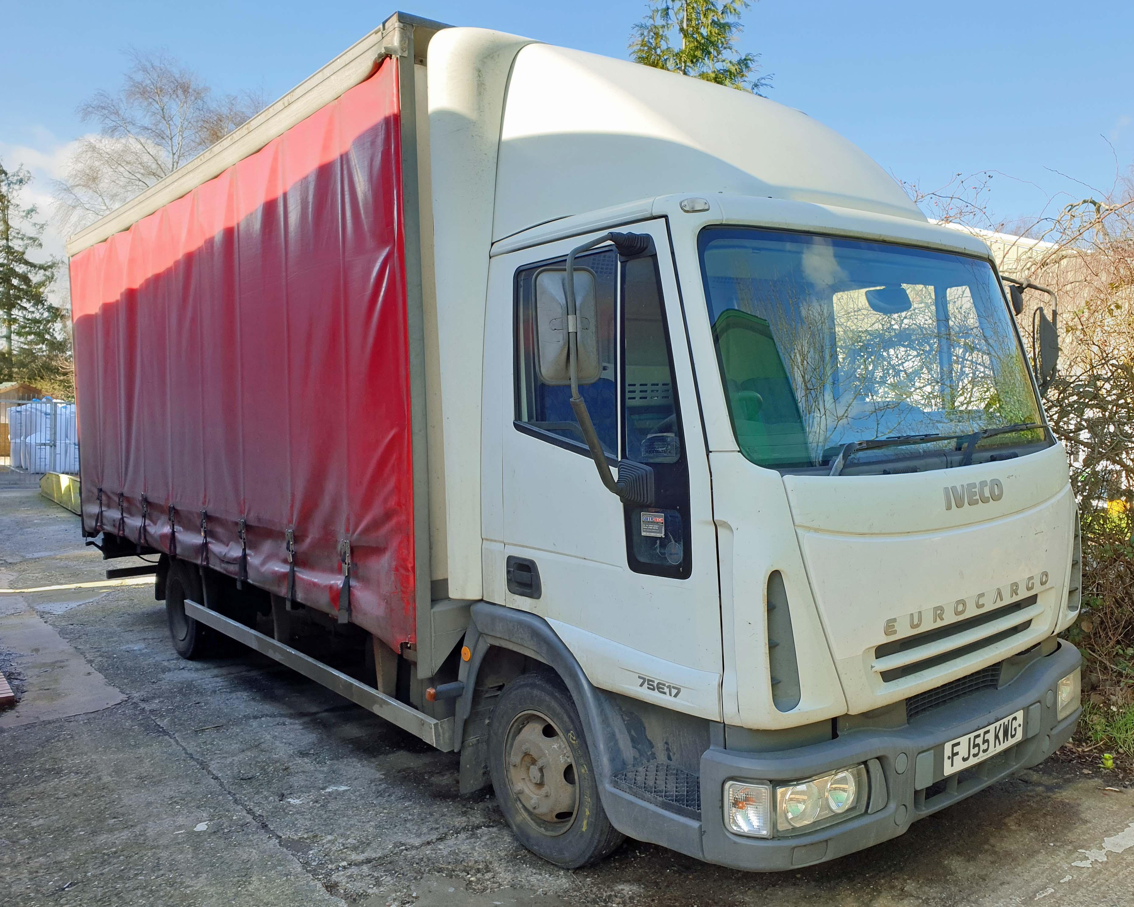 An IVECO Eurocargo ML 75 E17 3920cc 4x2 7.5-Tonne Curtainside Truck, Registration No. FJ55 KWG,