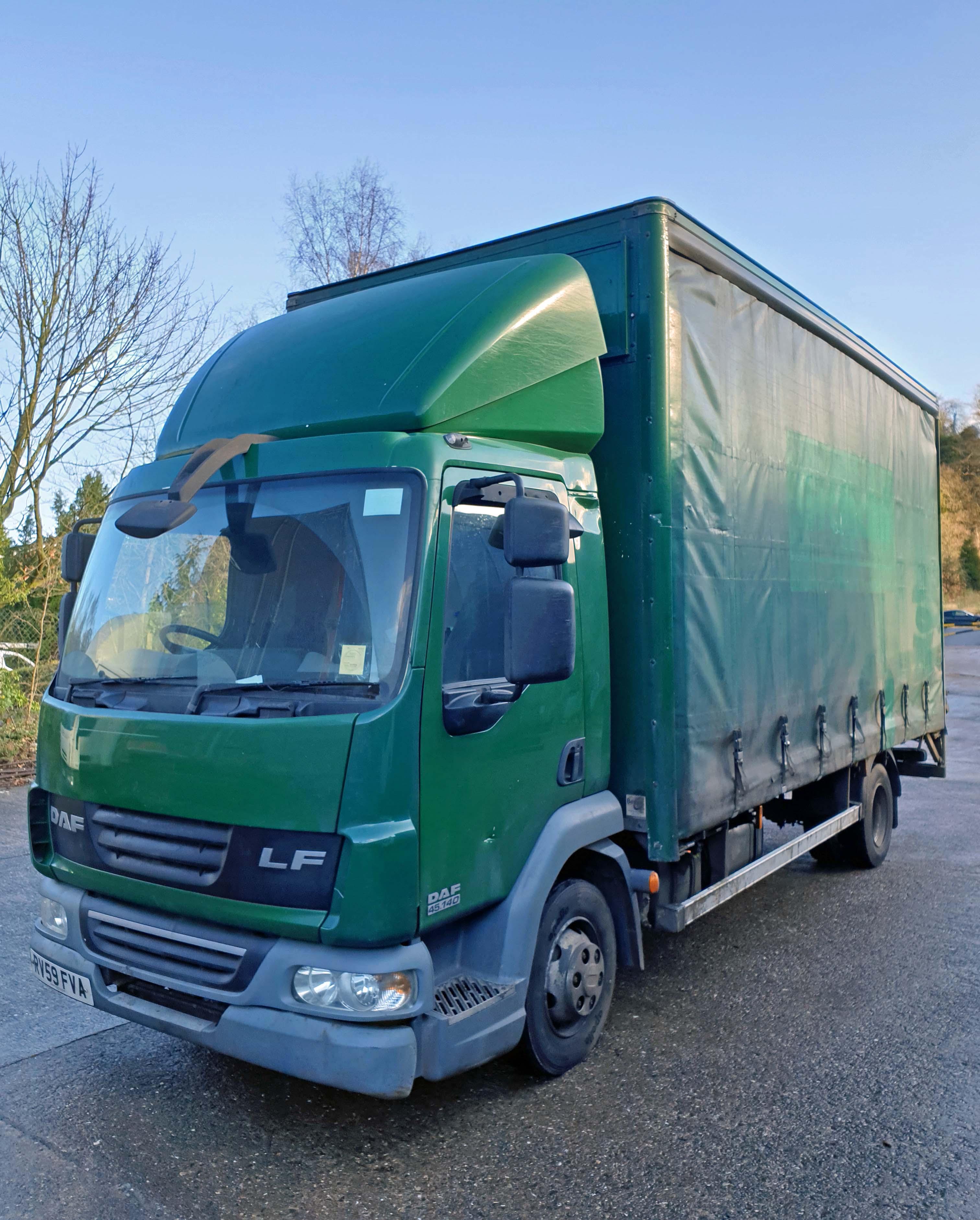 A DAF FA LF45.140 08 E 4461CC Euro4 4x2 7.5-Tonne Curtainside Truck, Registration No. RV59 FVA,