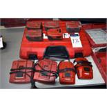 (5) Hilti 21.6v Lithium Ion Batteries, (4) Hilti Chargers, and (1) Hilti Case