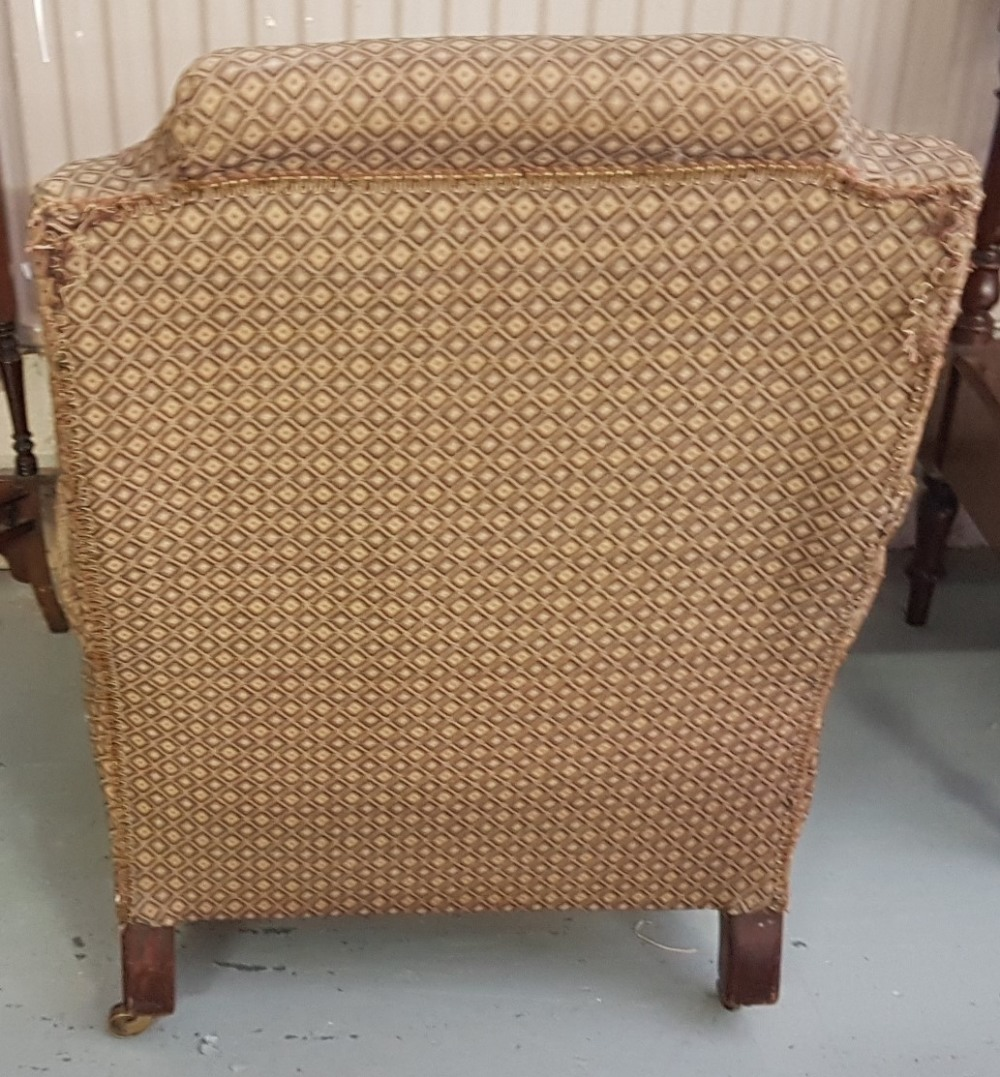 Lot 1 - WMIV Mahogany framed Gents Armchair, with balustrade arms, on turned front legs, gold and green
