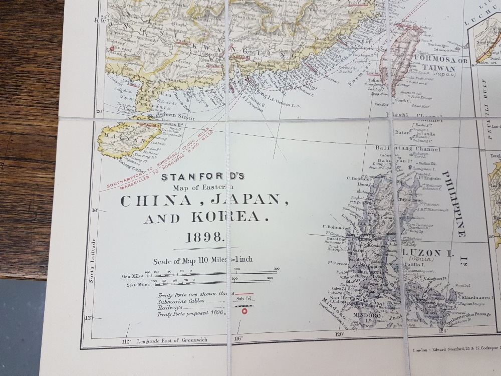 "Lot 60 - 5 Antique Maps – 1) ""Stanford's Map of Eastern China, Japan and Korea, 1898"", 2) Part Ireland,"