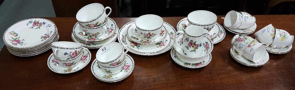 Lot 52 - 30 Piece Aynsley Teaset (incomplete), floral pattern and a 6 piece Queen Ann coffee set