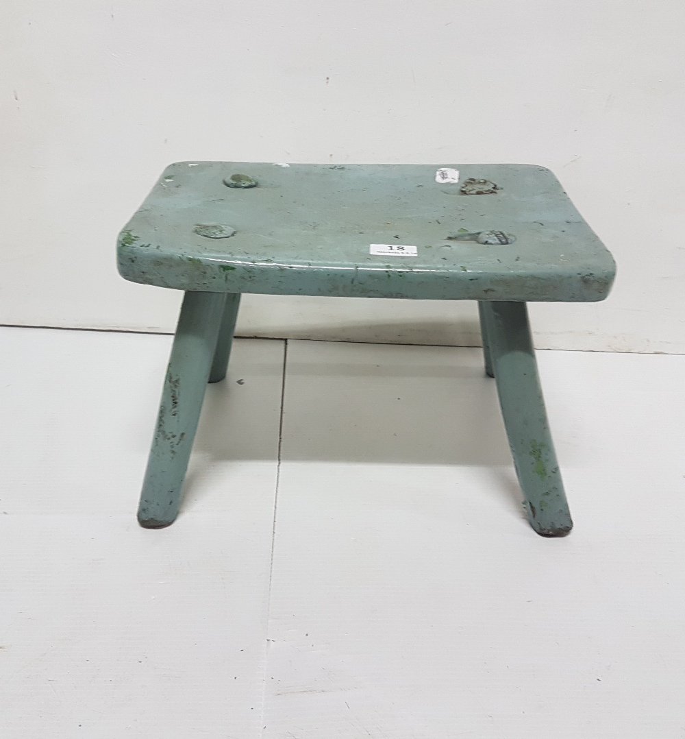 "Lot 18 - Antique pine stool on 4 pegged in legs, painted duck egg blue, 16""w x 11""h"