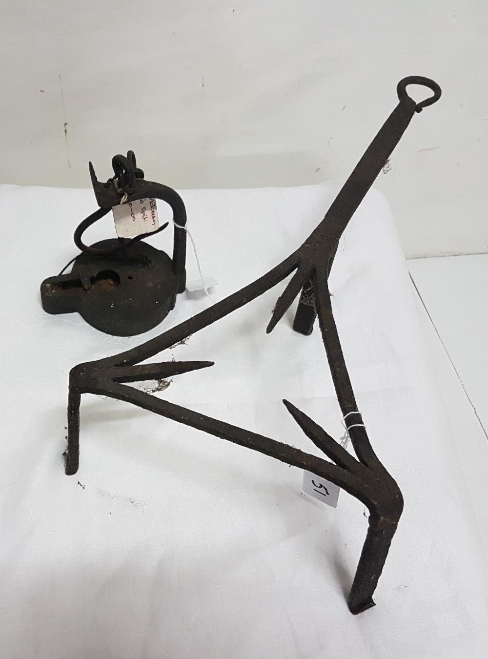 Lot 51 - Victorian metal trivet and Victorian metal spit (2)