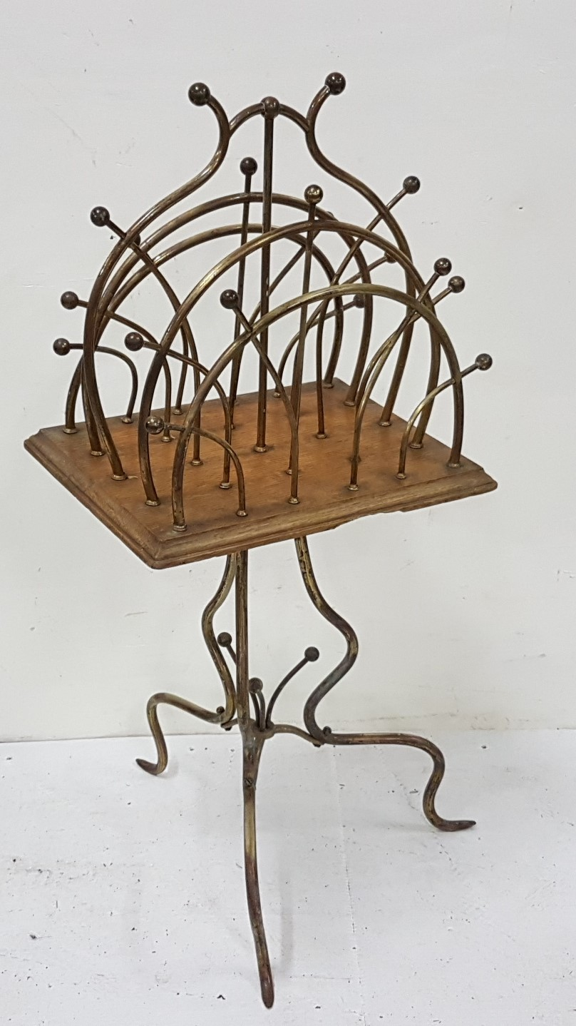 """Lot 15 - Victorian brass topped music sheet stand, revolving on an oak and brass stand, 36""""h x 15""""w"""