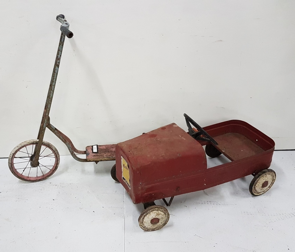 Lot 32 - 1930's scooter and a child's vintage go-cart, painted red (2)