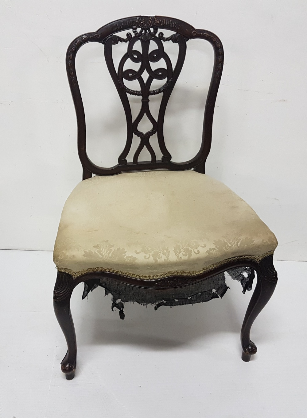 "Lot 33 - 19th C mahogany side chair, with decorated slat back, cabriole legs, shaped front, 23""w seat"