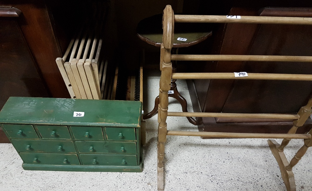 Lot 791 - Pine Towel Rail, Clothes Horse, small pine set of drawers (green), cd tower, wine table (5)
