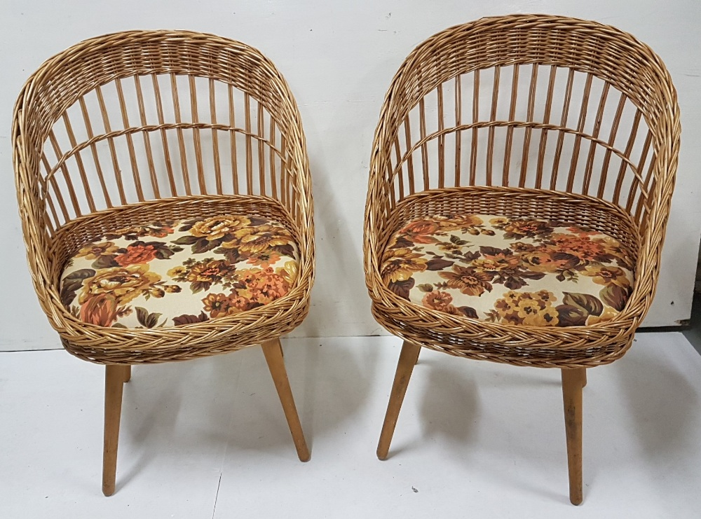 Lot 22 - Matching Pair of Basket Weave Wicker Conservatory Armchairs, with floral padded seats