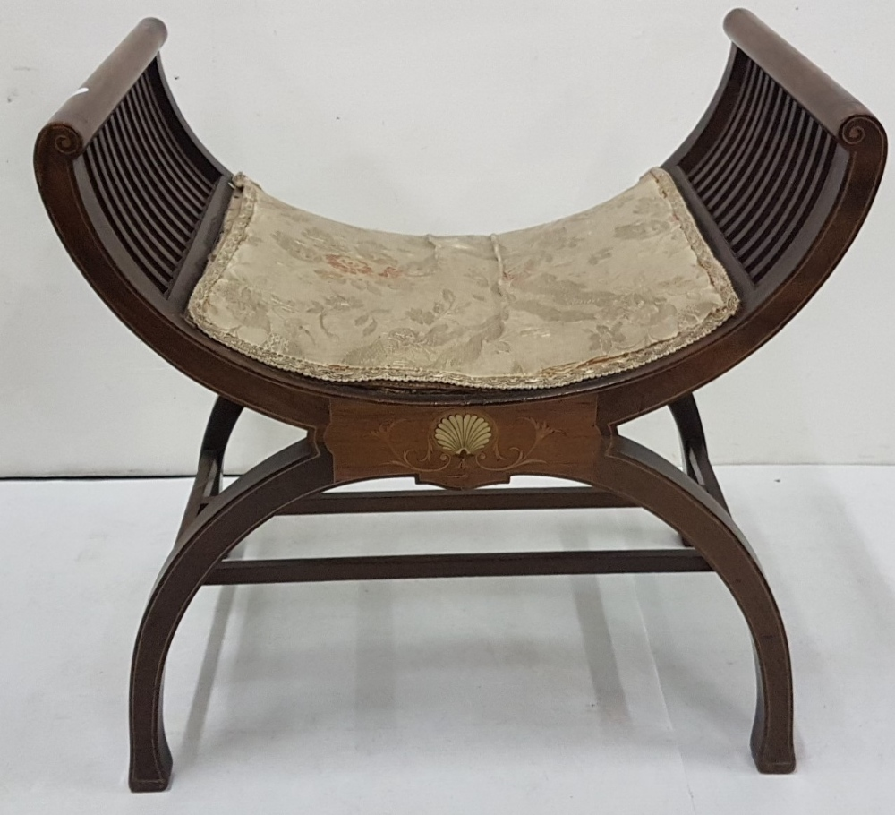 """Lot 29 - Late 19thC Regency style Stool, a curved and padded seat atop classical scallop inlay, 23""""w x 22""""h"""
