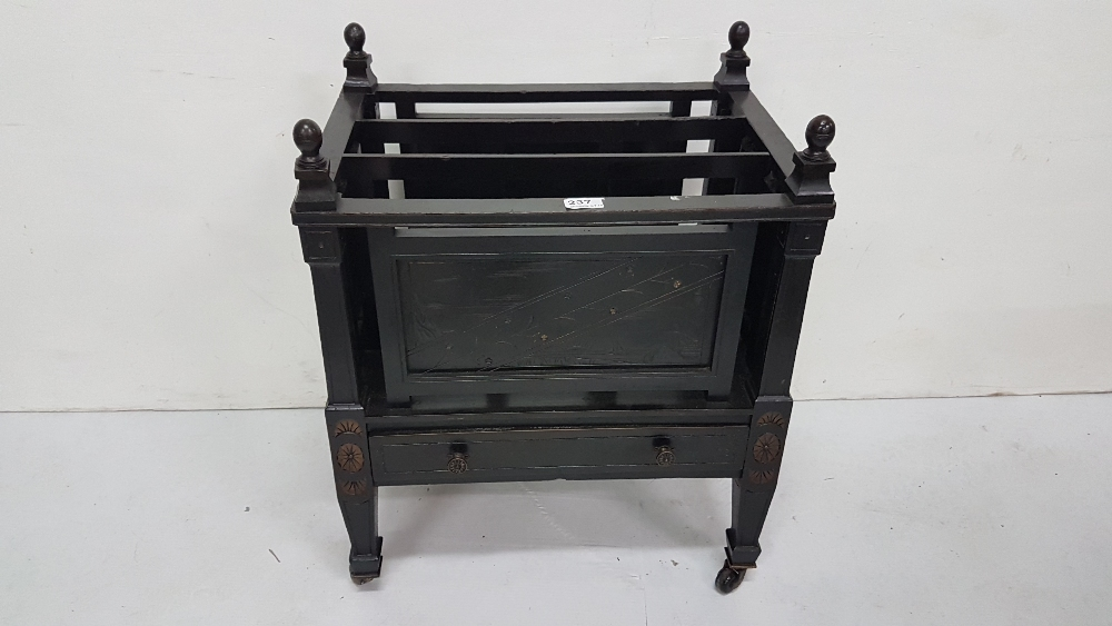 "Lot 41 - Arts and Crafts Ebonised Canterbury, with a drawer, on tapered legs, 21"" w"