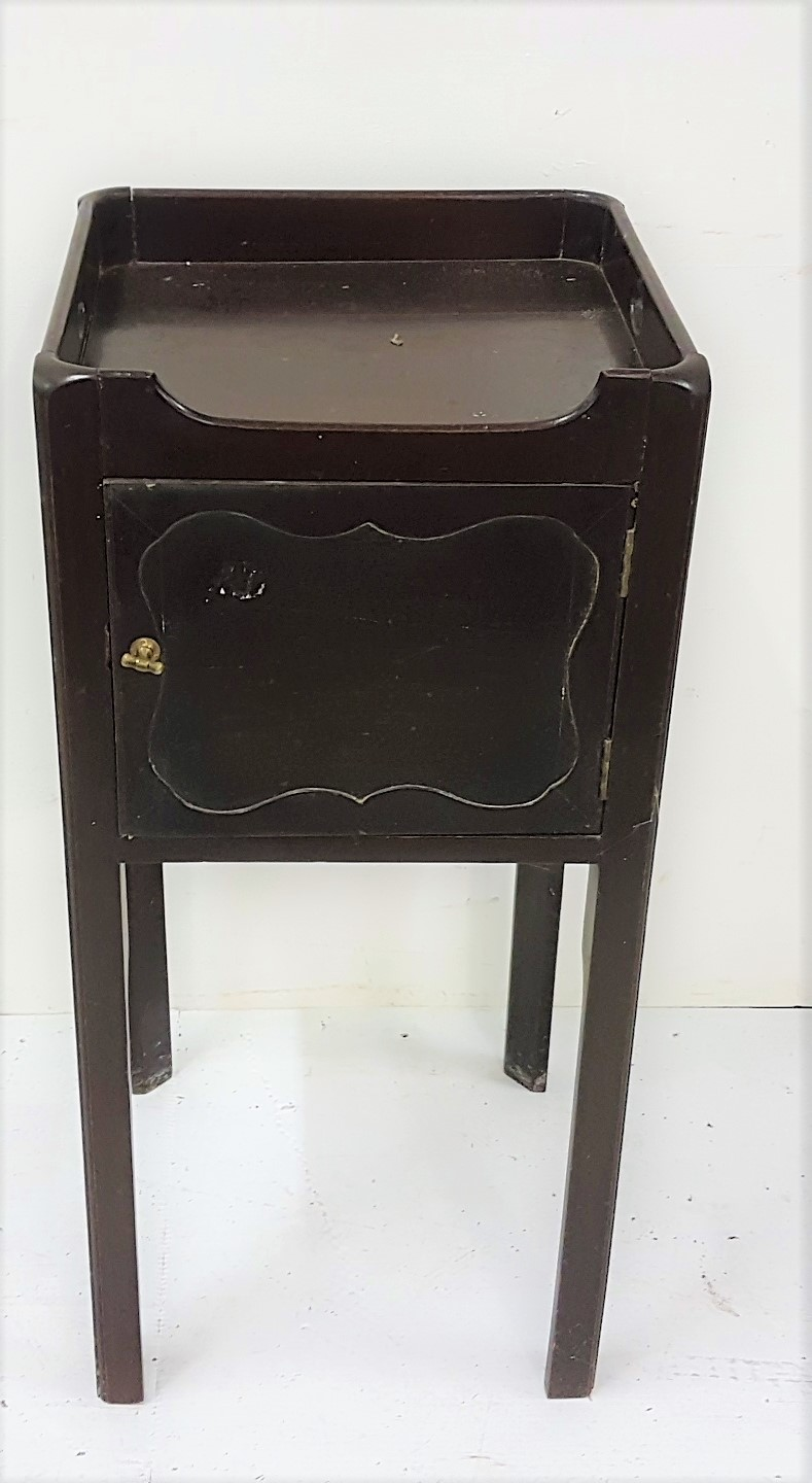 "Lot 13 - Walnut bedside cabinet with tray shaped top, 30""h, 14"" sq top"
