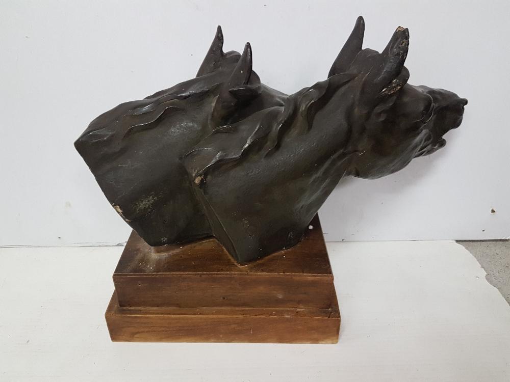 "Lot 44 - Equestrian Art - Plaster Bust of Two Horses Heads, signed ""Azori"", on an oak plinth, 19""w x 16""h"