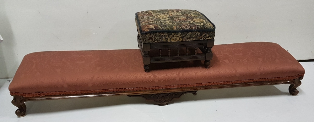 Lot 19 - Late 19th C French kneeler/footstool, a mauve satin padded top on walnut cabriole leg base and a