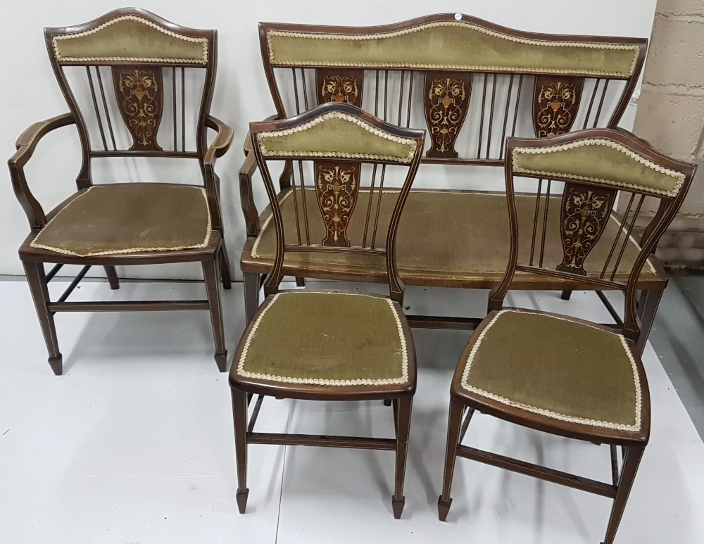 Lot 23 - 5 Piece Edw. Mahogany Drawing Room Suite, intricately inlaid with urn-shaped designs, incl. a 2-seat