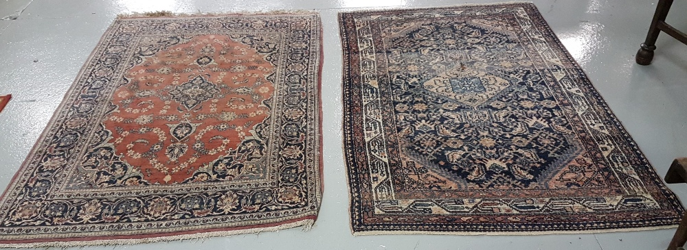 Lot 34 - 2 Old Persian Floor Rugs – 1 red ground (160cm x 110cm) & 1 blue ground (166cm x 106cm), multiple