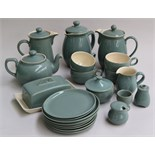 A quantity of Denby stoneware in green/blue with cream interior, including teapot, butter dish,