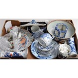 A box of mostly Chinese blue and white china,