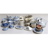 A lot of china including miniature white tea set, small blue and white cups,