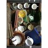 A box of mixed ceramics including Torquay ware, cut glass and various coffee cans,