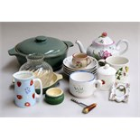 A quantity of ceramics including a Copeland Spode teapot decorated in pink and green flowers,