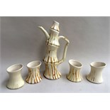 A studio pottery coffee set in the style of bamboo by Isla Chaney RA