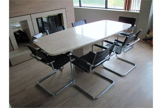 MARBLE CONFERENCE TABLE AND CHAIRS X REAL STONE MATCHING - Stone conference table