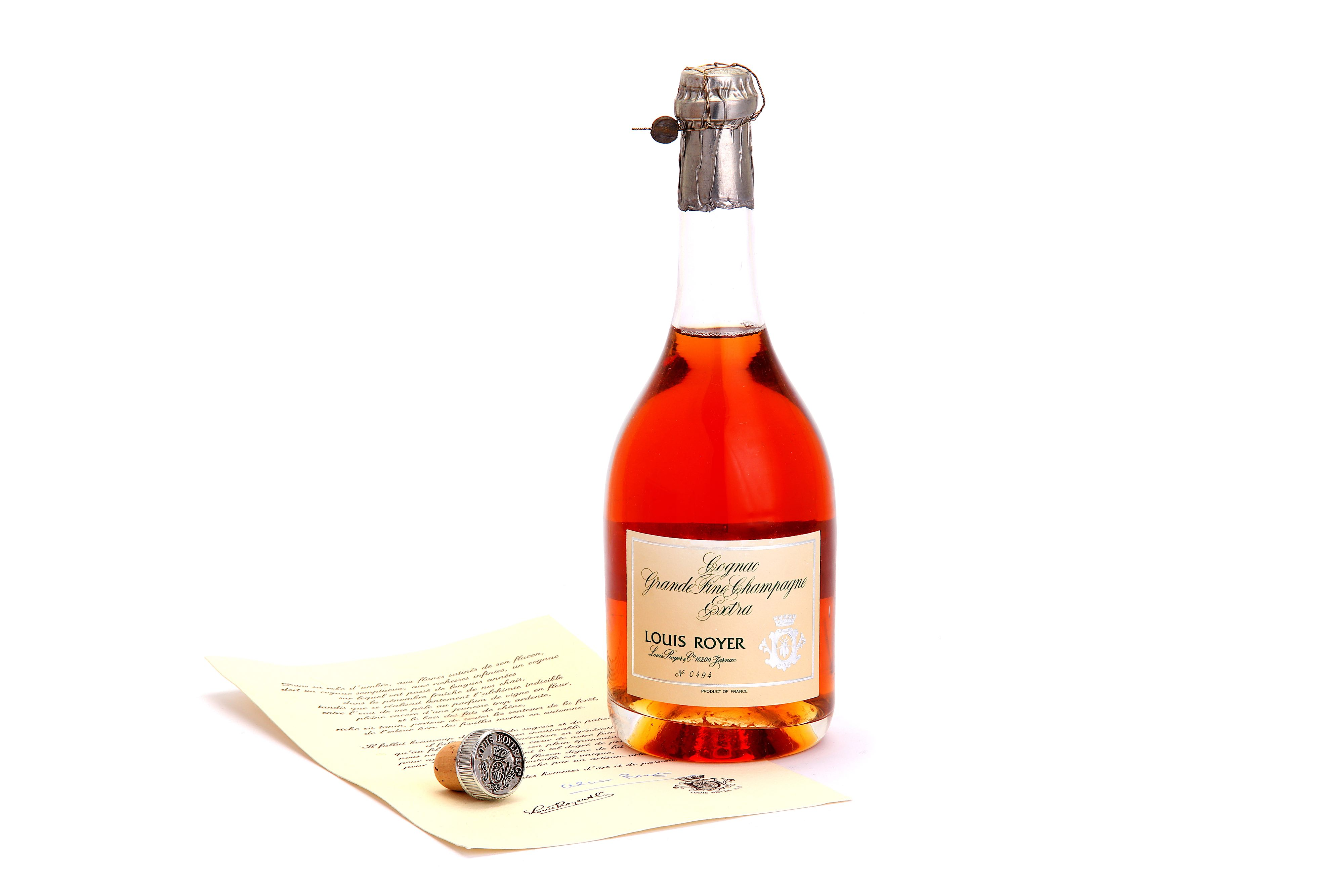 Lot 378 - ONE FACTICE BOTTLE OF LOUIS ROYER COGNAC - OWNED BY SIR HAROLD WILSON