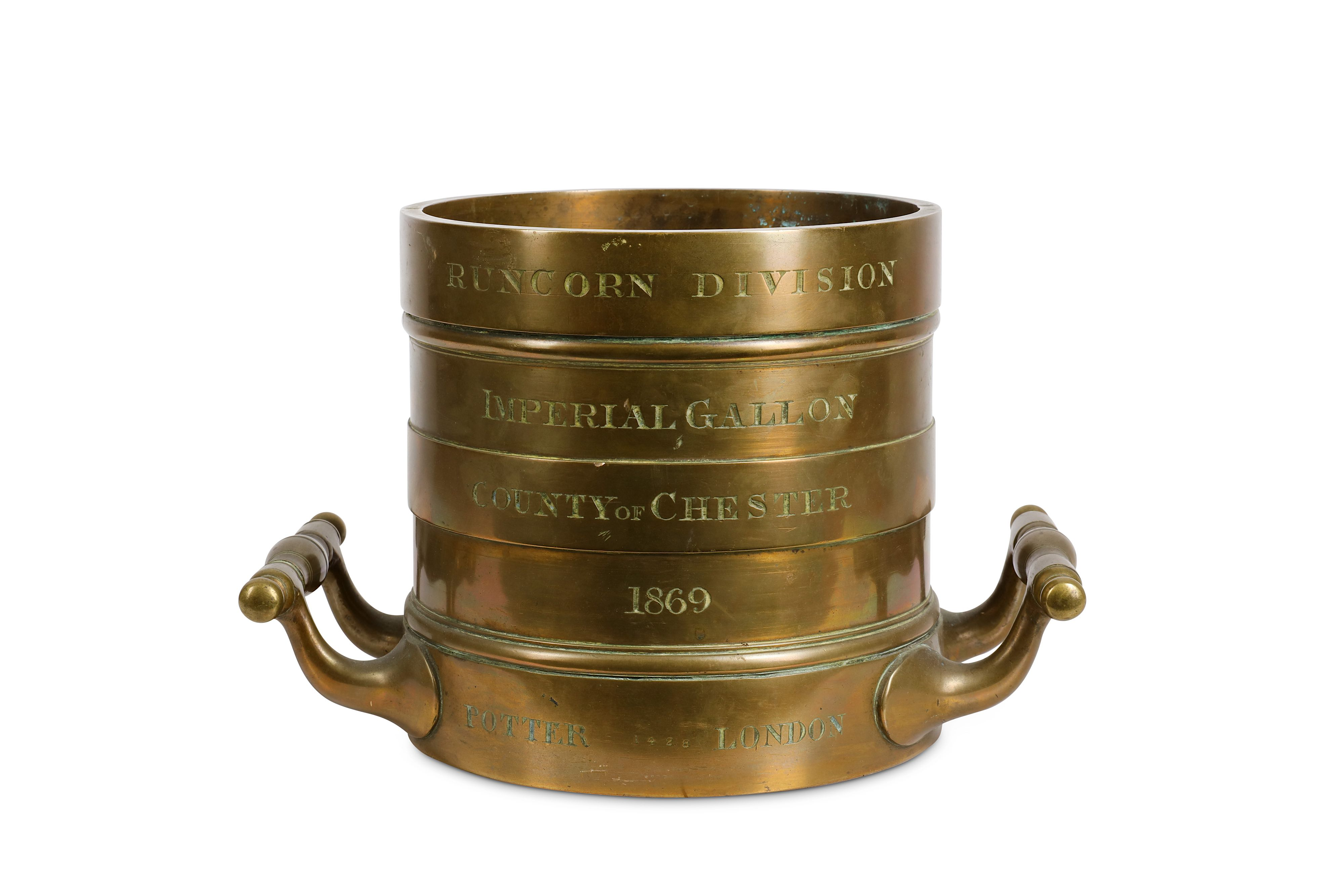 Lot 5 - A 19TH CENTURY BRONZE IMPERIAL GALLON MEASURE FOR THE COUNTY OF CHESTER