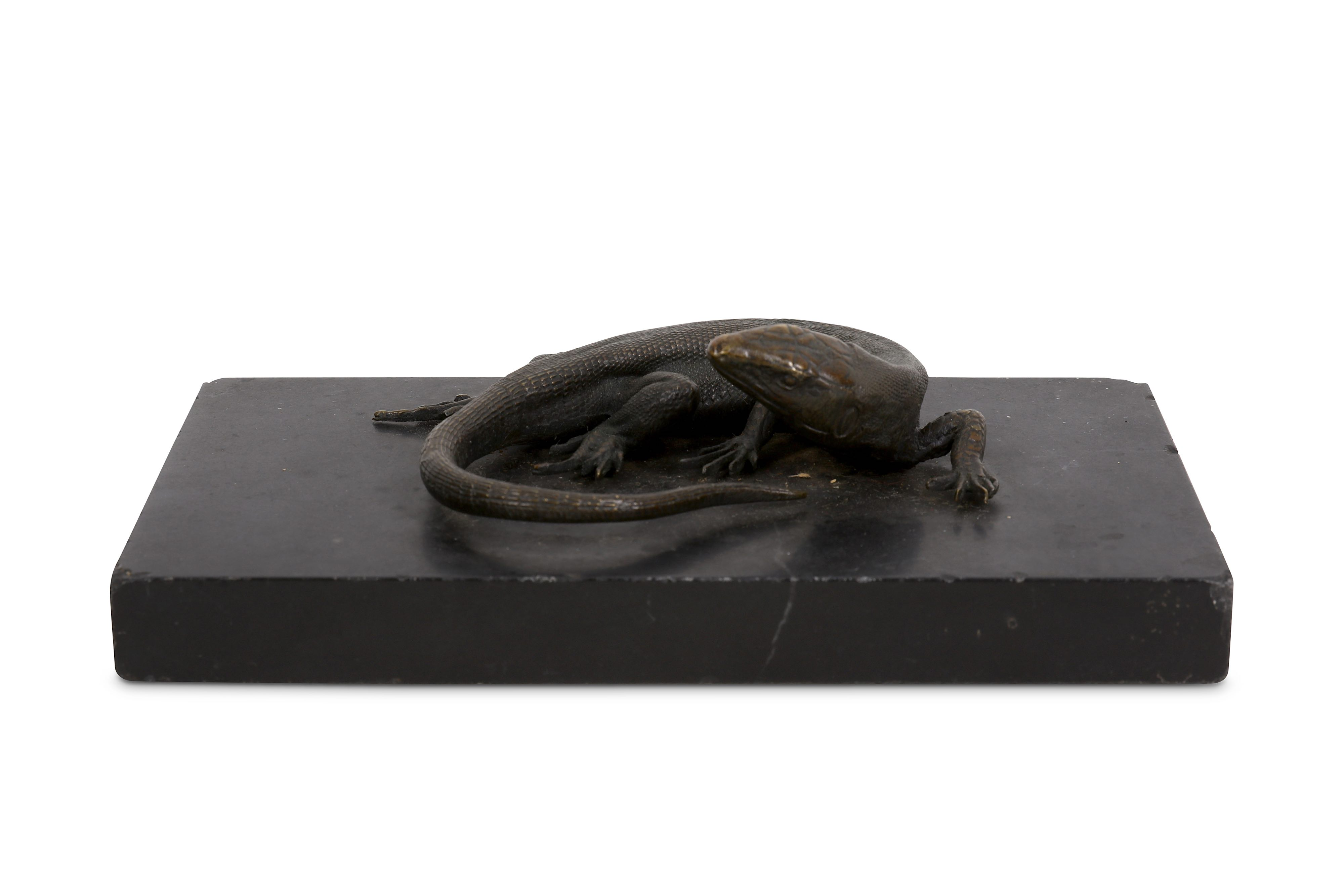 A 19TH CENTURY BRONZE MODEL OF A LIZARD, POSSIBLY A LIFE-CAST