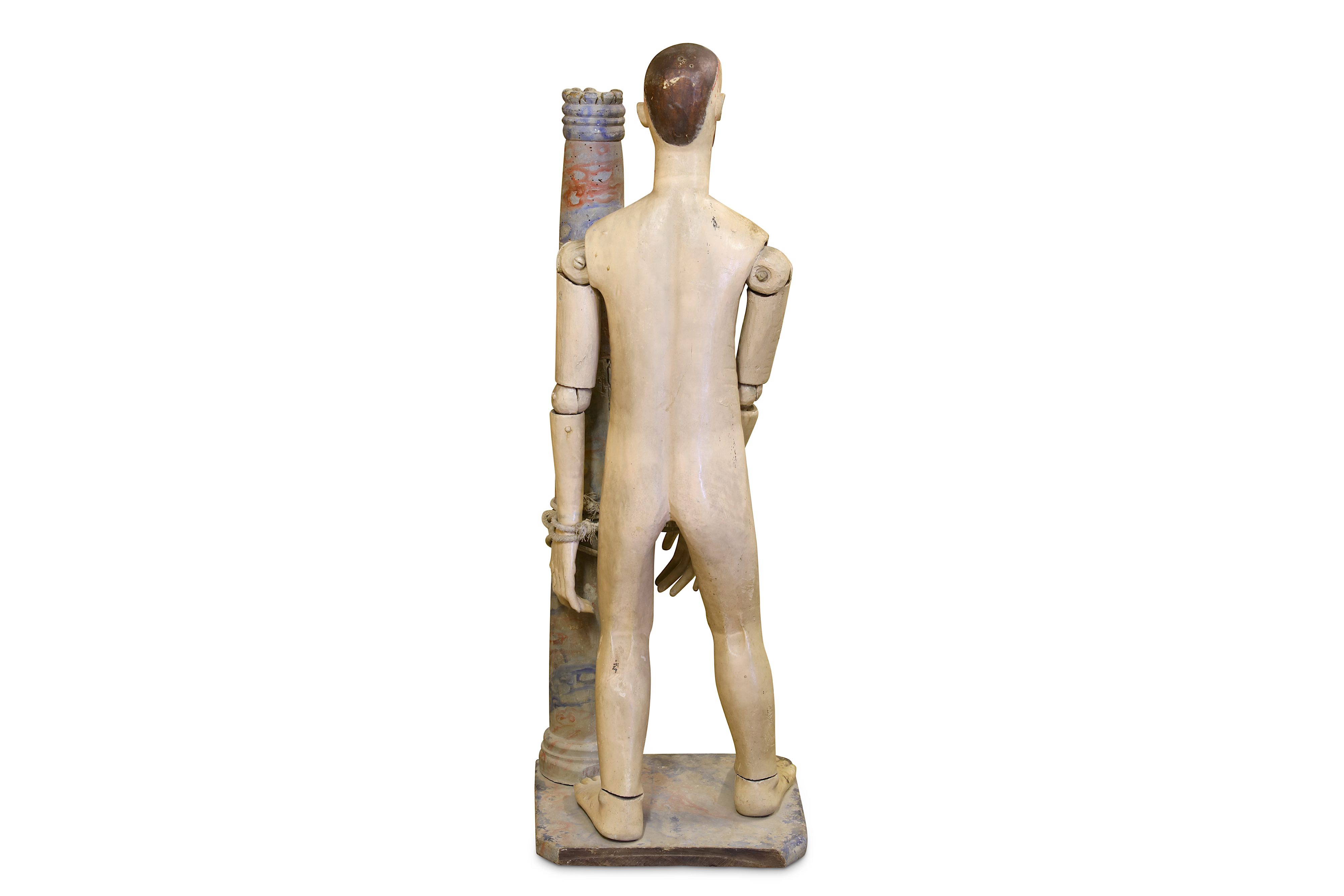 A 19TH CENTURY CARVED WOOD AND POLYCHROME DECORATED FIGURE OF CHRIST SCOURGED - Image 3 of 4