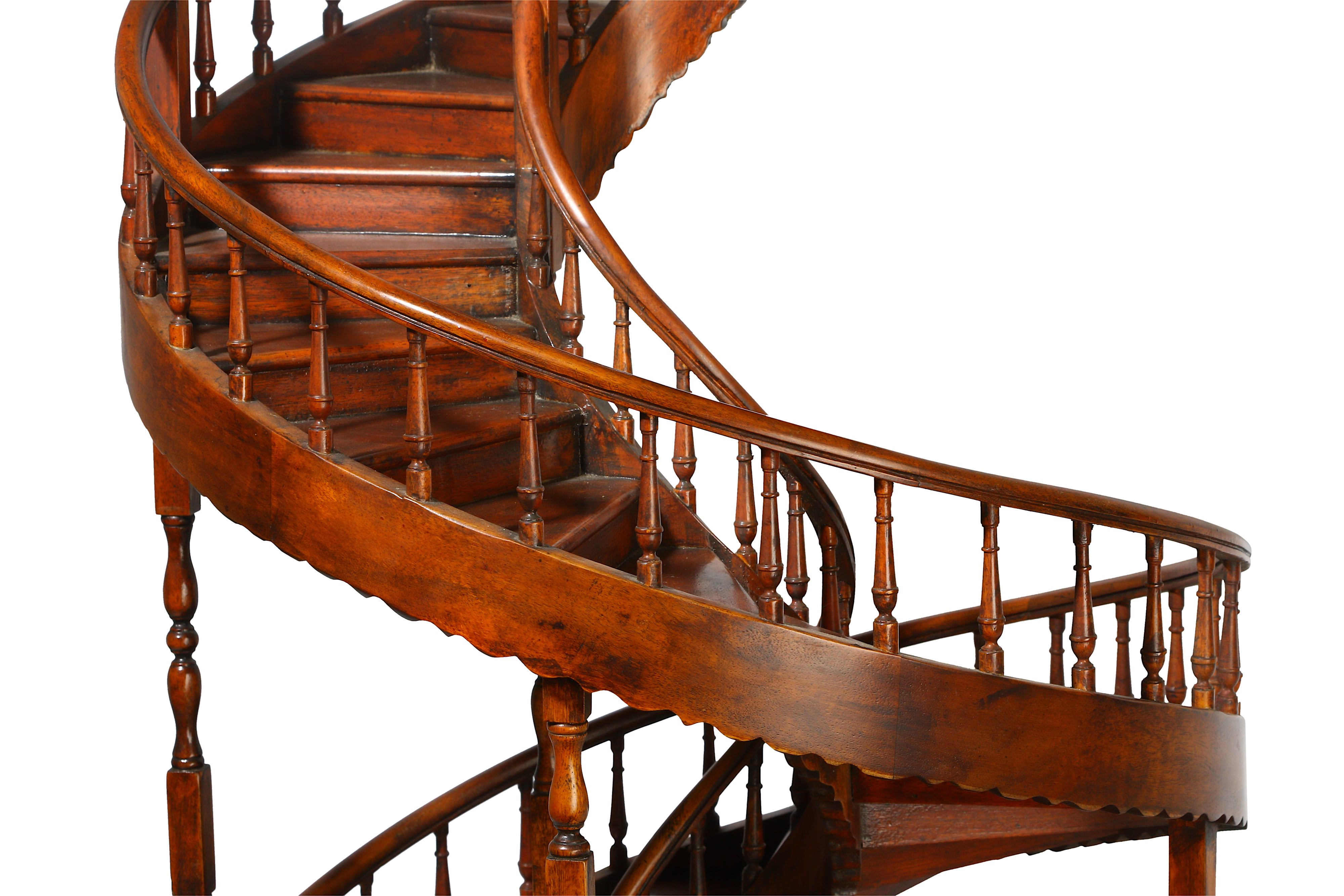 A LARGE EARLY 20TH CENTURY MAHOGANY APPRENTICE'S ARCHITECTURAL MODEL OF A SPIRAL STAIRCASE - Image 3 of 9