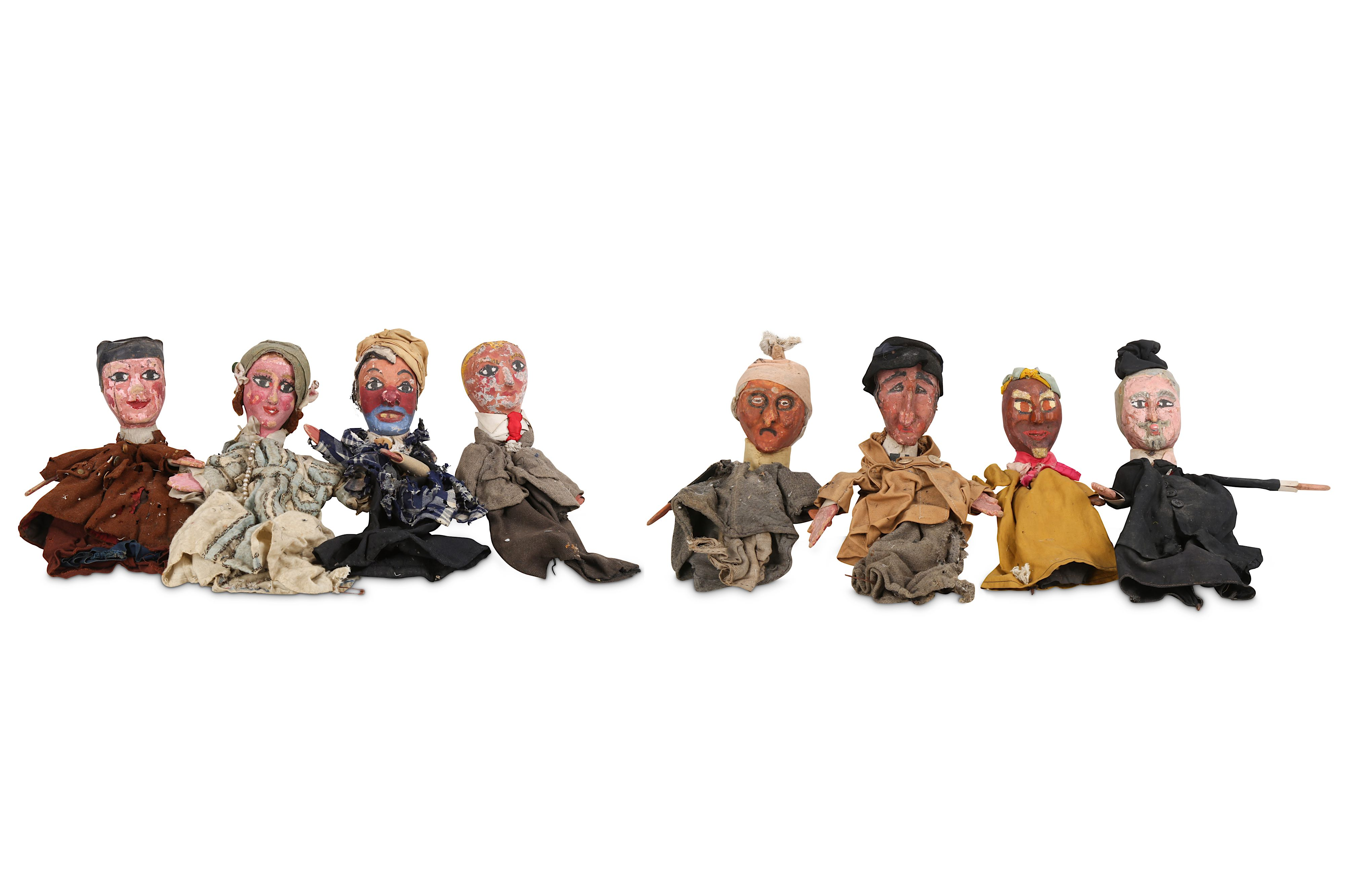 A SET OF EIGHT 1930'S FRENCH HANDPAINTED AND CARVED WOOD PUPPETS FOR 'LE GUIGNOL DES ENFANTS'