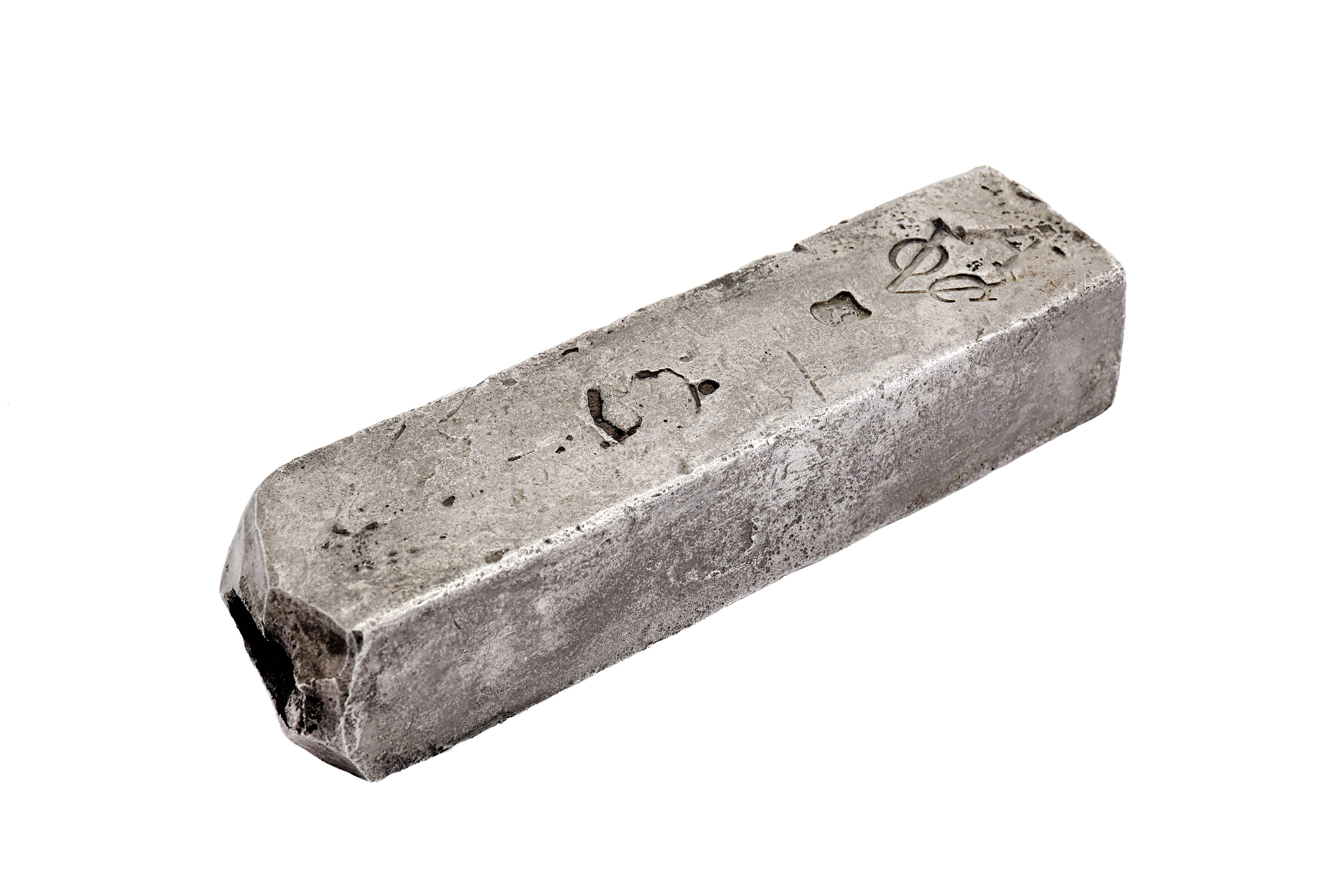 A DUTCH EAST INDIA COMPANY (V.O.C.) SILVER INGOT FROM THE ROOSWIJK CARGO STAMPED WITH THE MARK OF TH