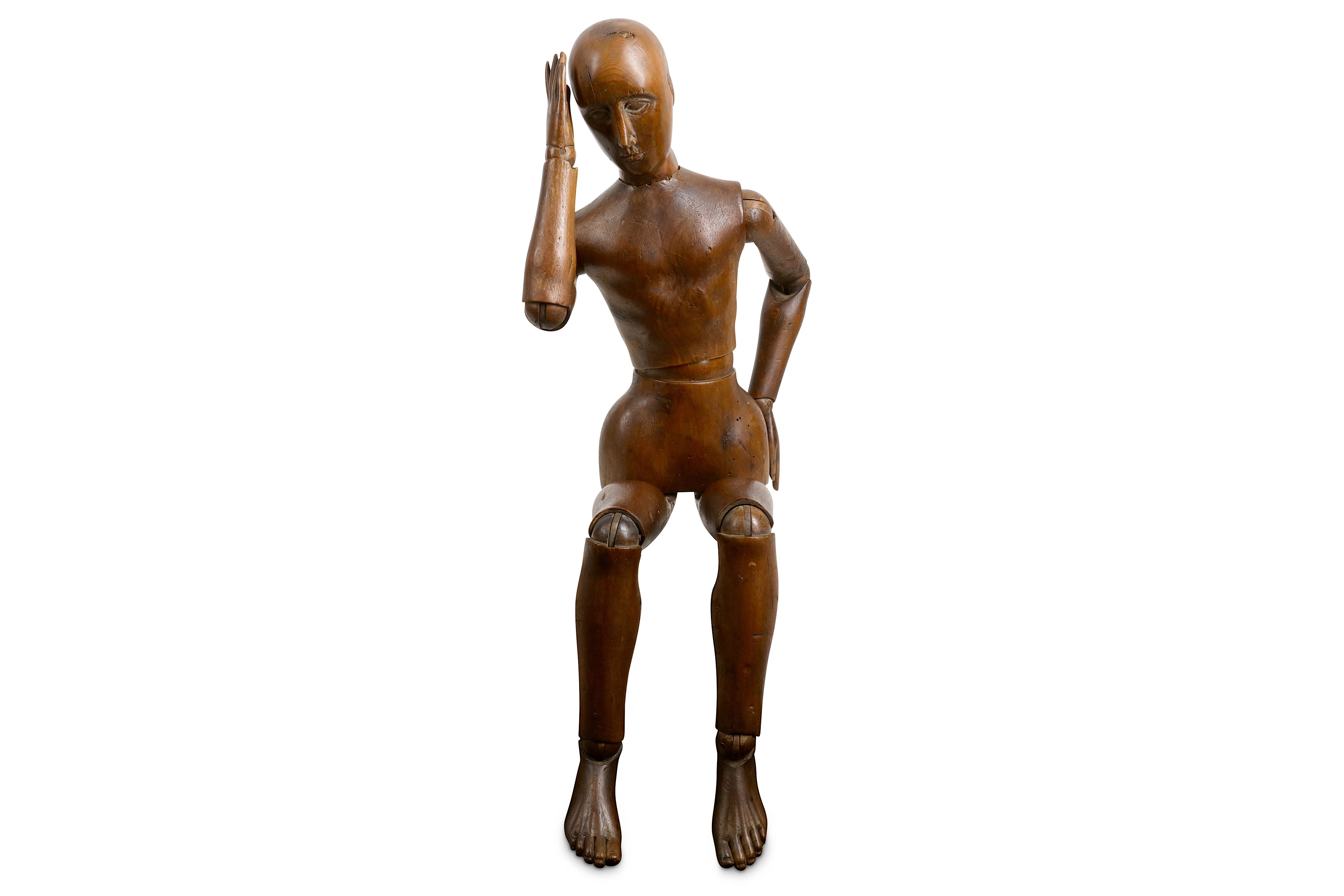 AN EARLY 20TH CENTURY CARVED AND STAINED WOOD LAY FIGURE OR ARTIST'S MANNEQUIN - Image 4 of 4