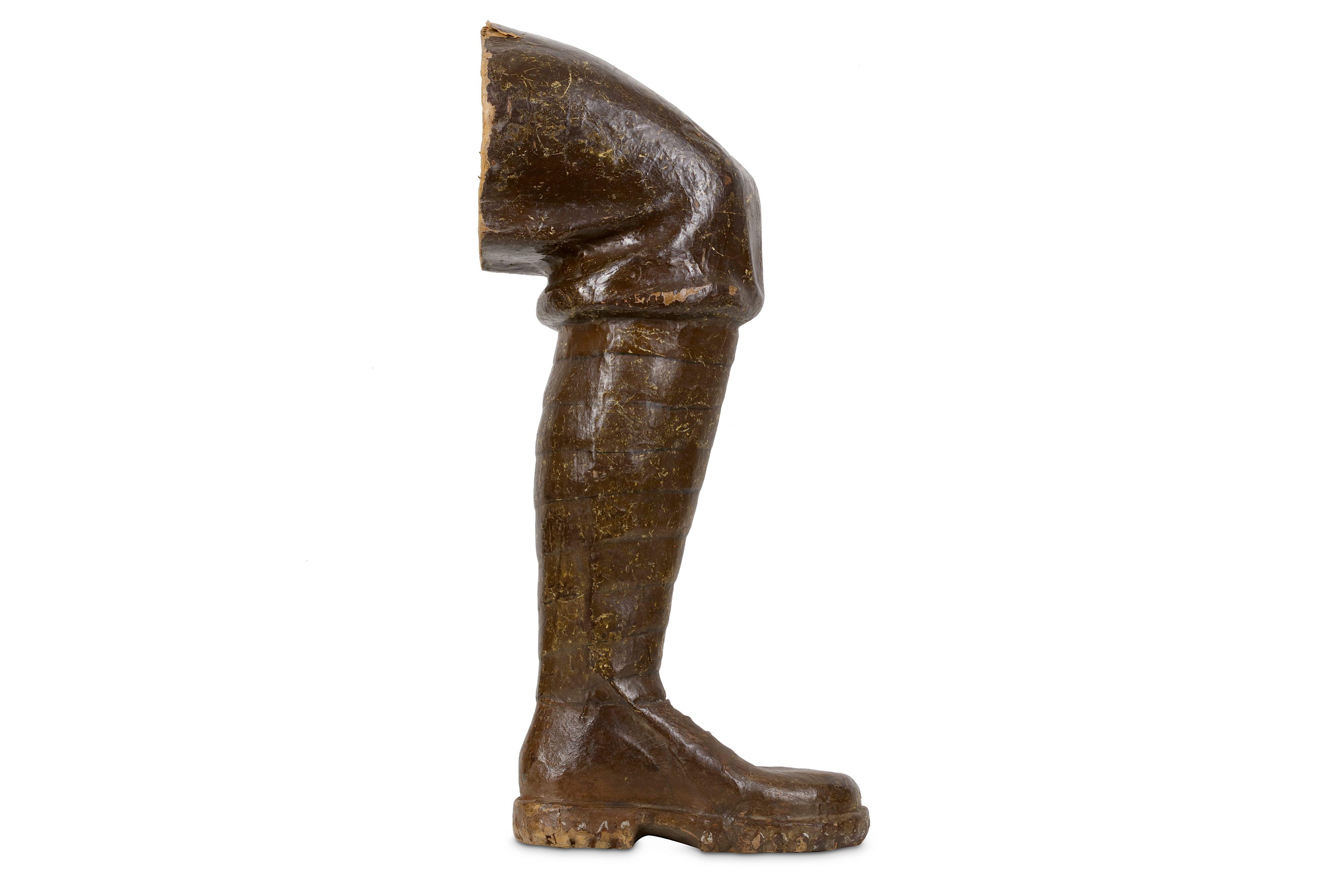 Lot 53 - AN EARLY 20TH CENTURY PAPIER MACHE MODEL OF A WW1 SOLDIER'S LEG