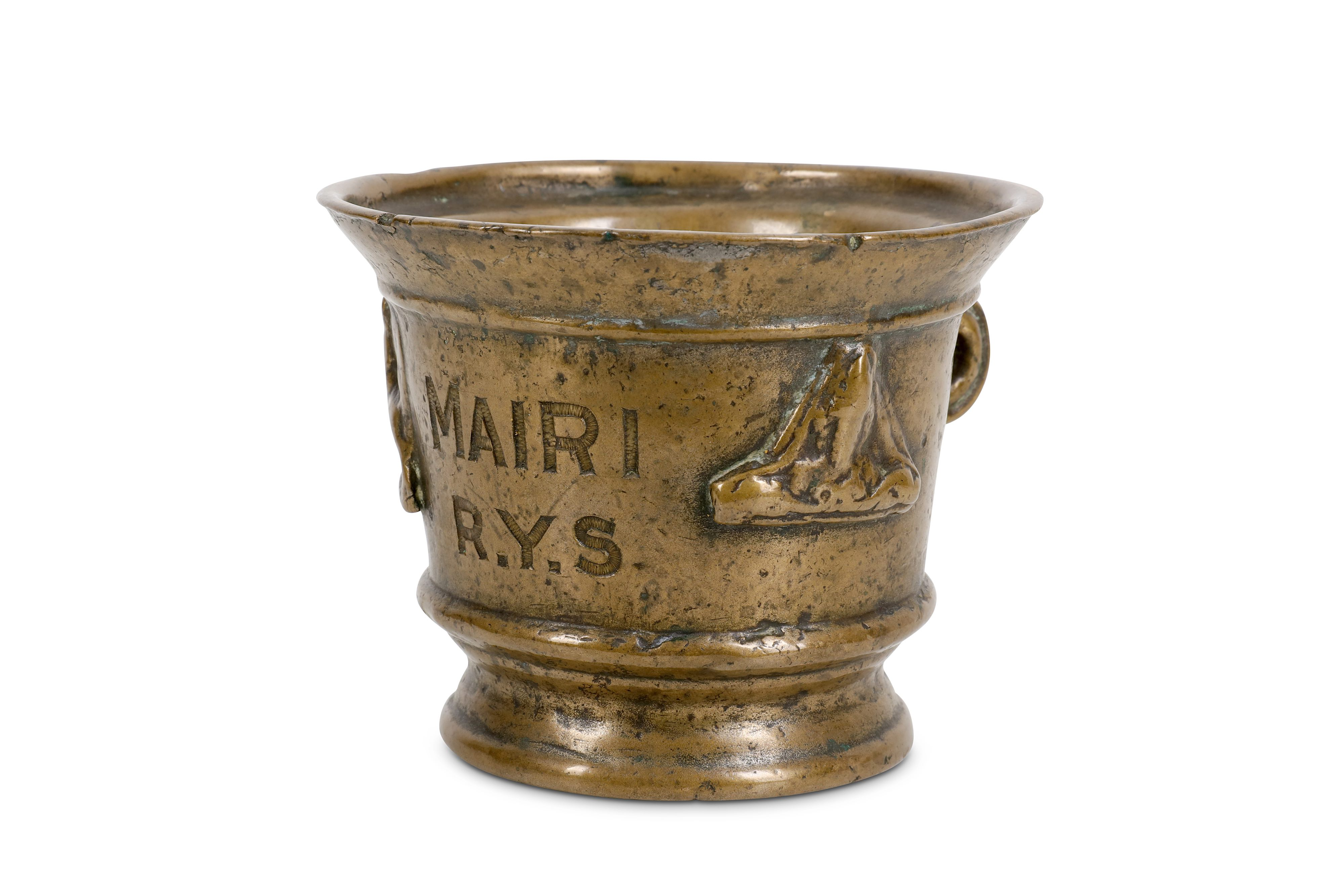 AN EARLY BRONZE MORTAR, LATER ENGRAVED 'MAIRI R.Y.S'