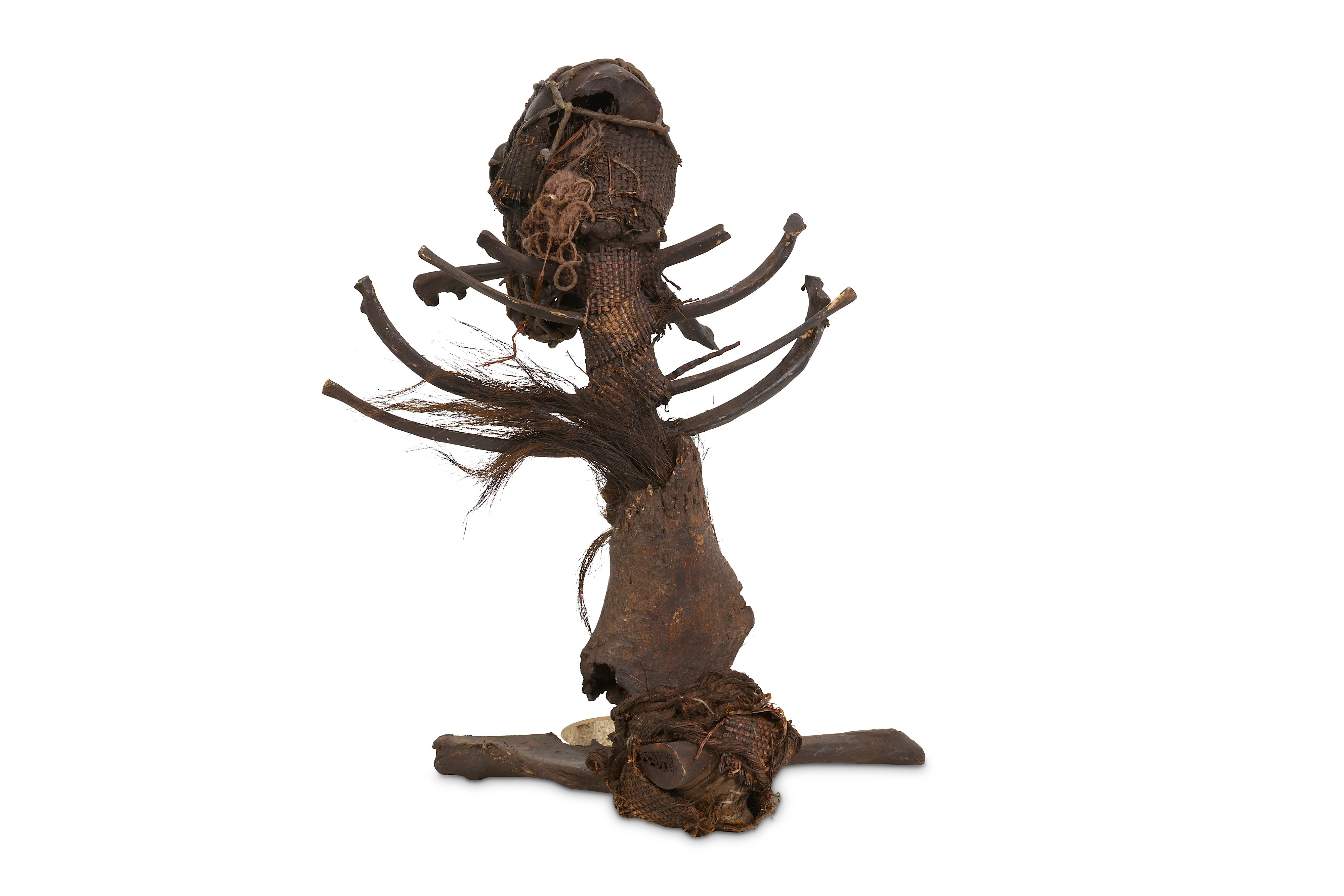 A 19TH CENTURY AFRICAN WITCH DOCTOR STAFF (FETISH) FORMED FROM MONKEY REMAINS - Image 2 of 2