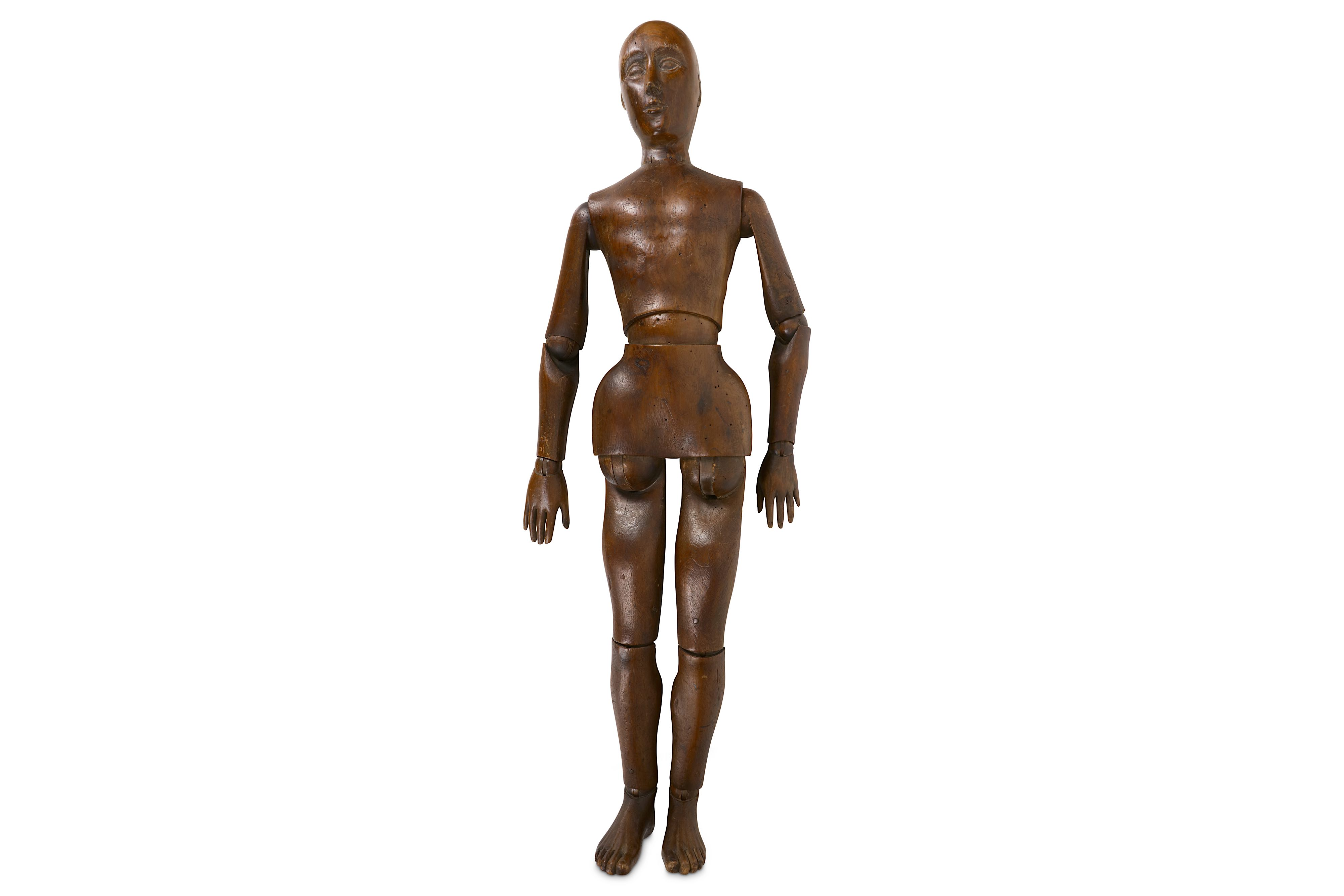 AN EARLY 20TH CENTURY CARVED AND STAINED WOOD LAY FIGURE OR ARTIST'S MANNEQUIN - Image 2 of 4