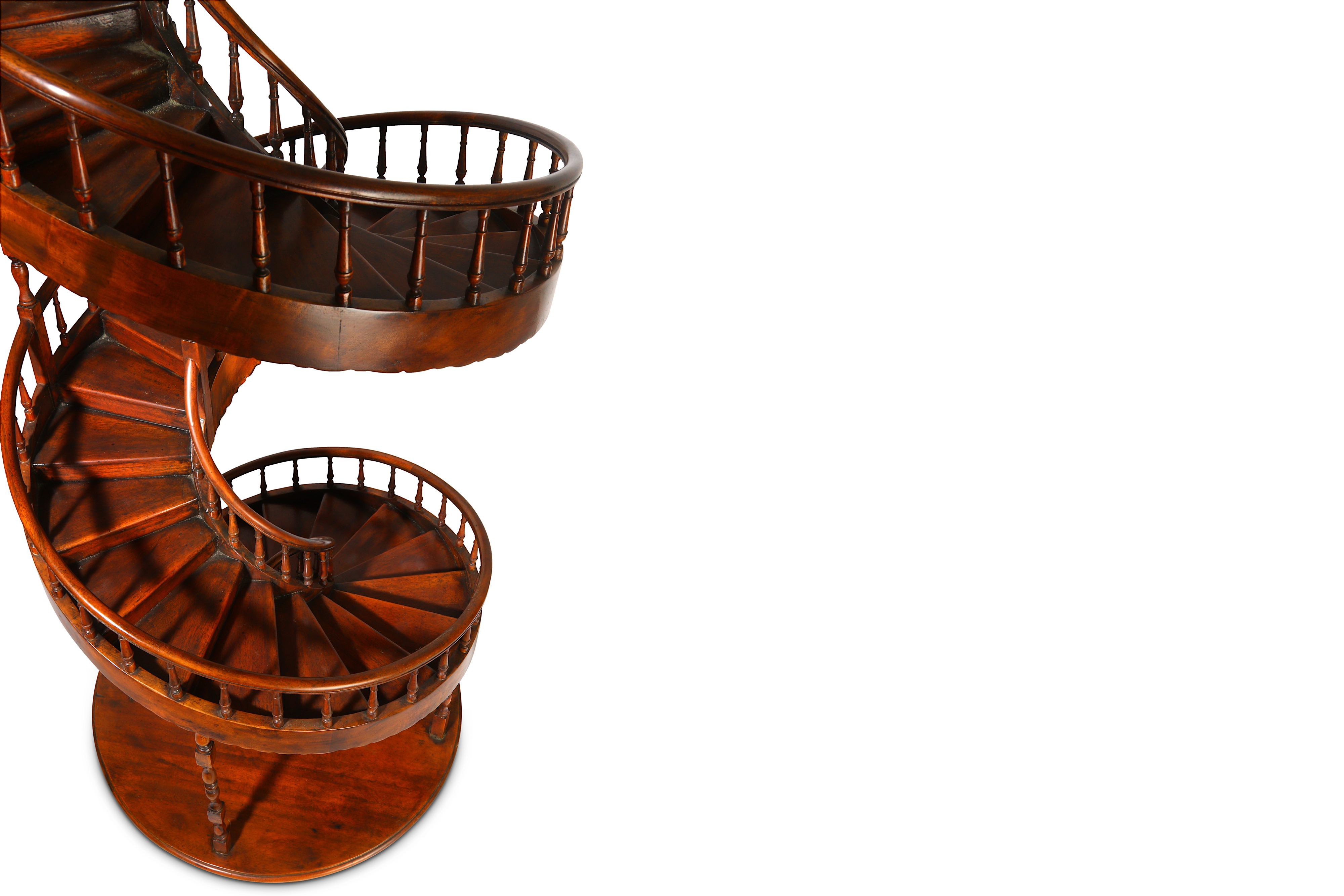 A LARGE EARLY 20TH CENTURY MAHOGANY APPRENTICE'S ARCHITECTURAL MODEL OF A SPIRAL STAIRCASE - Image 9 of 9