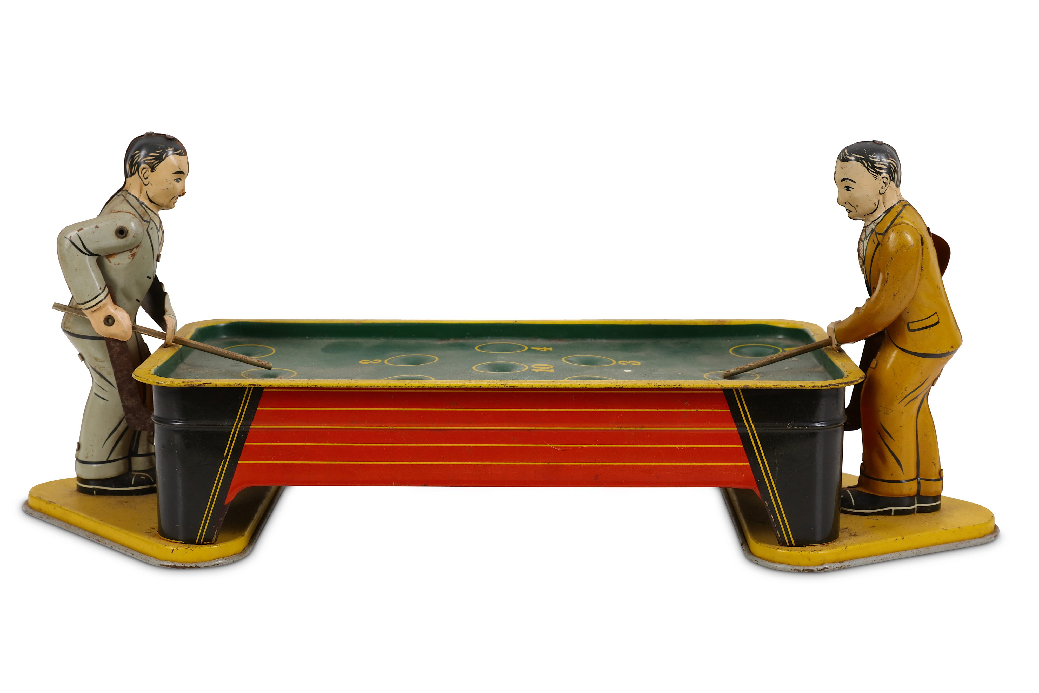 VINTAGE 1940S RANGER TINPLATE WIND UP POOL TABLE AND PLAYERS - Image 2 of 3