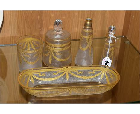 A ST LOUIS CRYSTAL DRESSING TABLE SET, comprising a scent bottle, powder pot with lid, tumbler, rectangular dish and conical