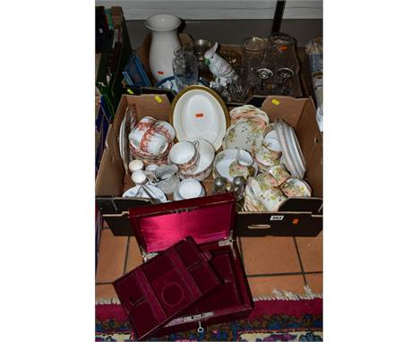 TWO BOXES AND LOOSE CERAMICS, GLASS, ETC, to include R. Delinieres & Co, Limoges teawares for James Muggleton, Birmingham