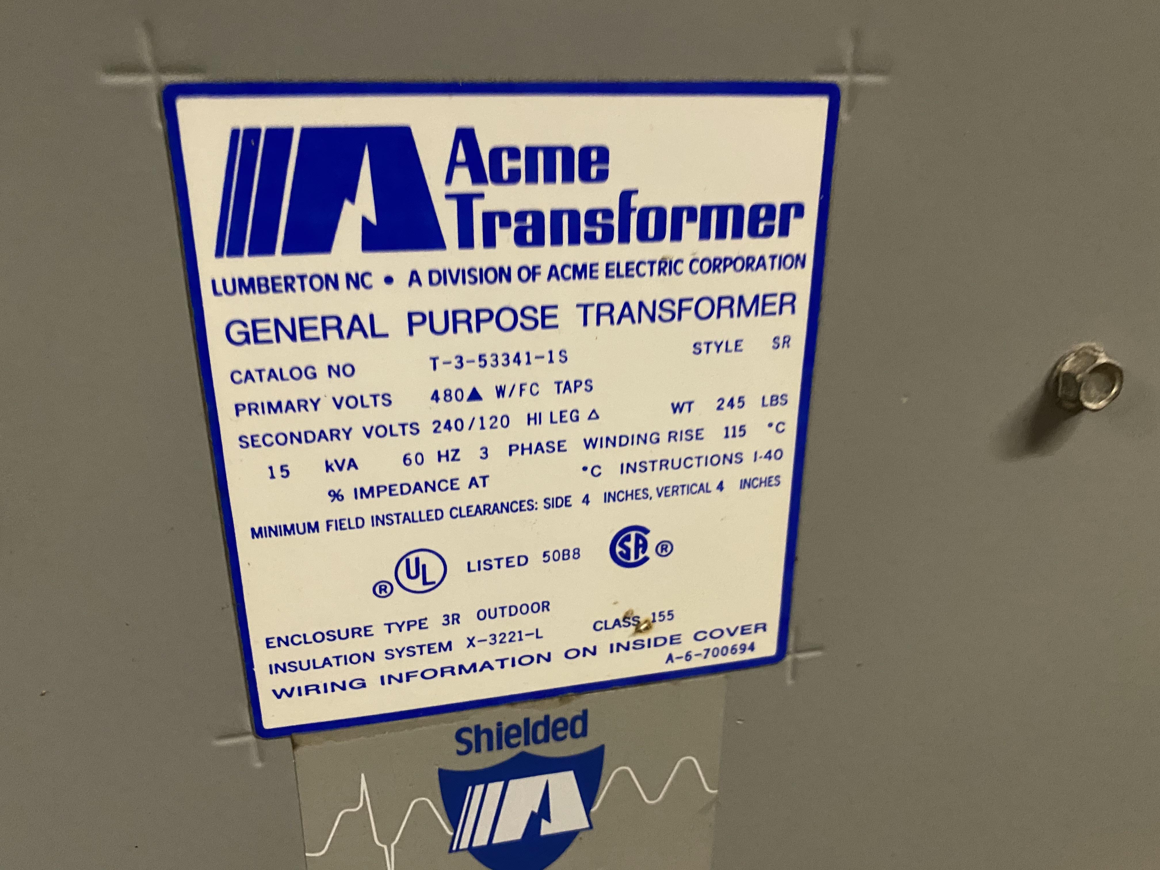 ACME T-3-53341-1S, 15 KVA, 3Ø, 480 X 240/120 VOLT, TRANSFORMER- (NS) T1600 - Image 2 of 2