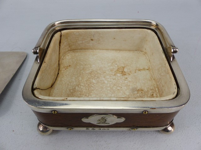Wooden & Silver coloured metal caviar dish by T Harwood & Son (1865 - 1892) with ceramic lining (A/ - Image 5 of 6